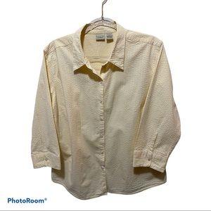 LL Bean Seersucker Essential Shirt Blouse Top